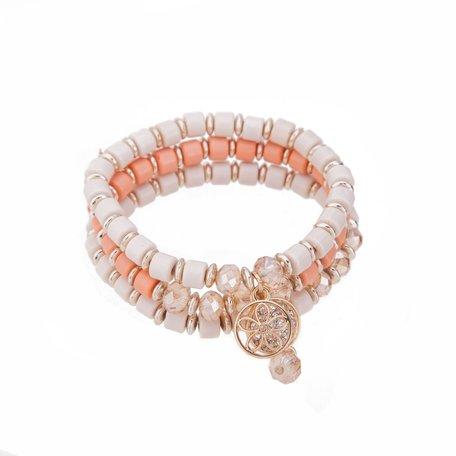 Kralen Ibiza Armband - Met Munt - Oranje & Wit