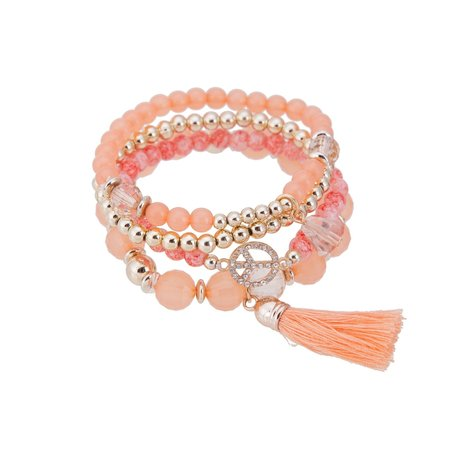 Kralen Ibiza Armband - Met Peace Symbool Strass & Tassels - Oranje