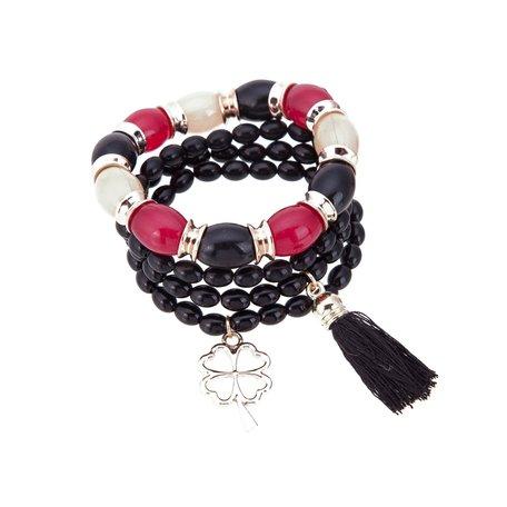 Kralen Ibiza Armband - Met Bloem Hanger & Tassel - Zwart & Rood