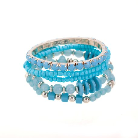Kralen Ibiza Armband - Bee Hive symbool - Blauw