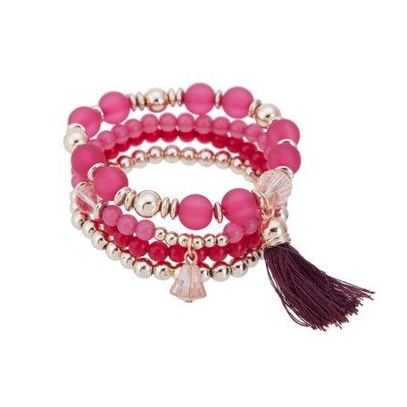 Kralen Ibiza Armband - Hanger met Tassels - Roze & Wit