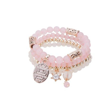 Kralen Ibiza Armband - Met Quote op Munt & Tassels - Roze