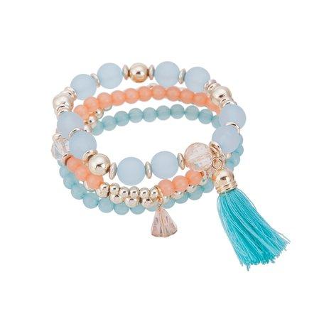 Kralen Ibiza Armband - Met Hanger & Tassel - Oranje & Blauw