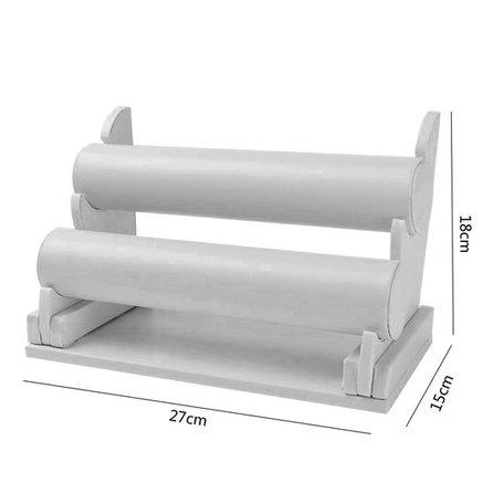 Display 2Rol grijs LEDERLOOK