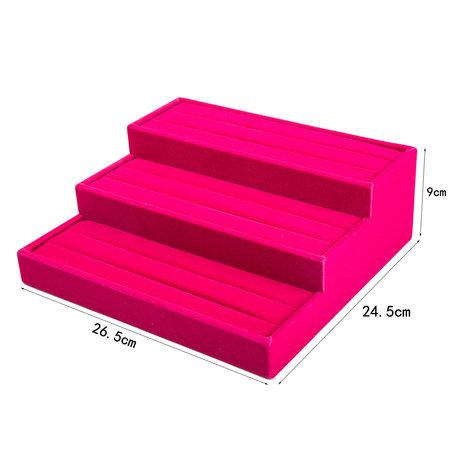 Display Ringen Fluweel 3 laag 26.5x24.5cm