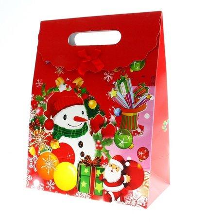 Kersttasjes, 28x37.5x15cm 12stuks, BxHxD  prijs per 12 stuks