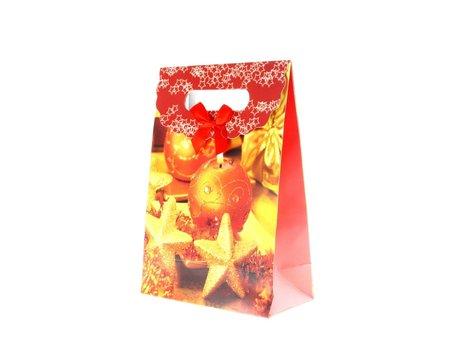 Kersttasjes, 12.5x16.5x6cm 12stuks, BxHxD  prijs per 12 stuks