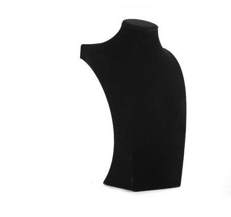Display Hals Fluweel zwart 26 cm hoog
