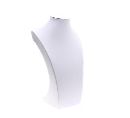 Display Hals Lederlook wit 22 cm hoog