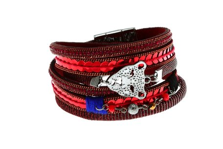Lederen Ibiza Armband Rood