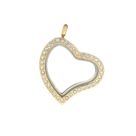 GOUD MEMORY LOCKET HART MET STRASS 30mm