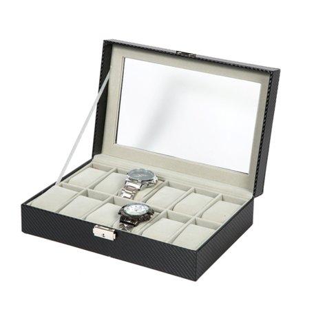 Luxe Lederen Horloge Koffer 12 Vakken Incl, Sleutel