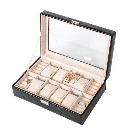 Luxe Lederen Horloge & Ringen Koffer 12 Vakken