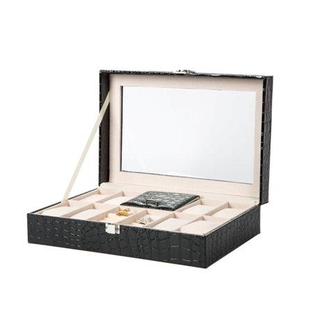 Luxe Lederen Horloge & Ringen Koffer 11 Vakken