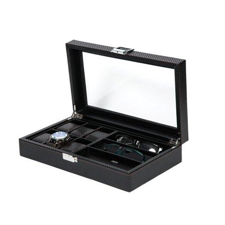 Luxe Lederen Horloge & Zonnebrillen Koffer 9 Vakken Carbon Look