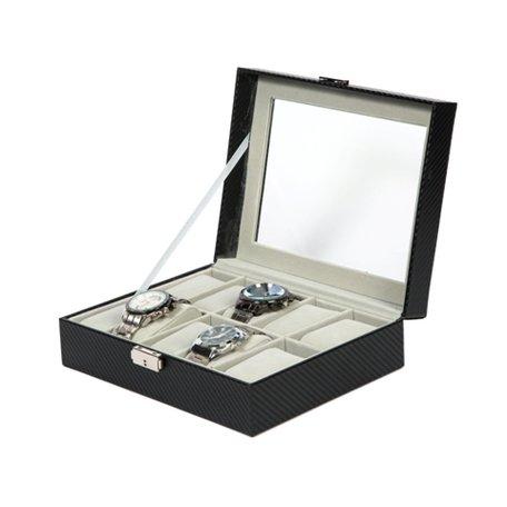 Luxe Lederen Horloge Koffer 10 Vakken Incl, Sleutel