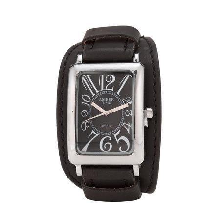 Leren Horloge - Dikke Band - 5cm Breed - Zwart