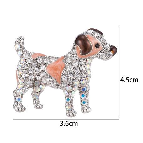 Hond Speld-Broche met Gekleurde Zirkonia