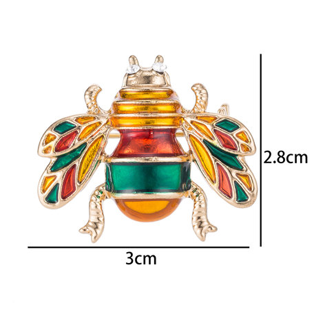 Honingbij Speld-Broche met Gekleurde Zirkonia