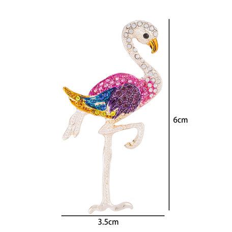 Flamingo Speld-Broche met Gekleurde Zirkonia
