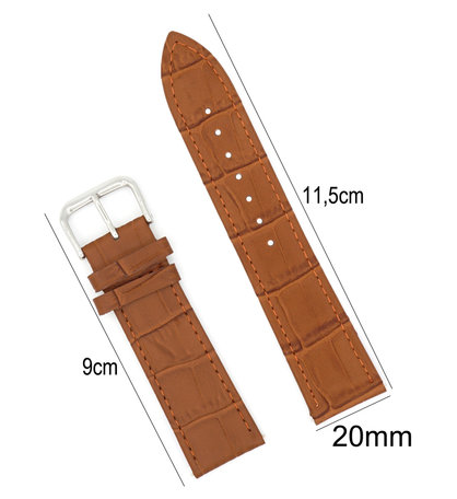 Horlogeband Leer 20mm - Croco Band + Push Pin - Donker Bruin