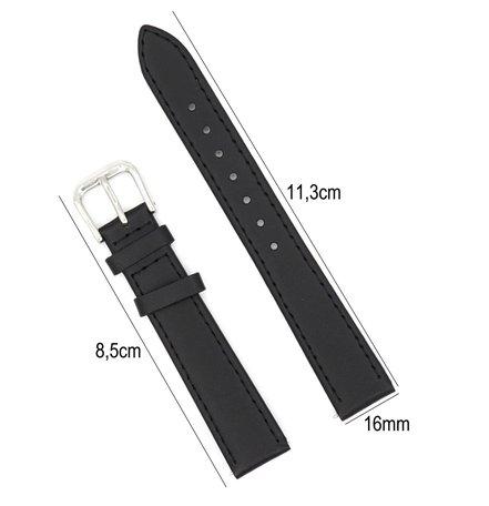 Horlogeband Leer 16mm - Gehechte Rand  + Push Pin - Zwart