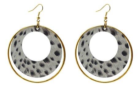 Leopard Print Hoop Dubbel Oorbellen met Gold Circle