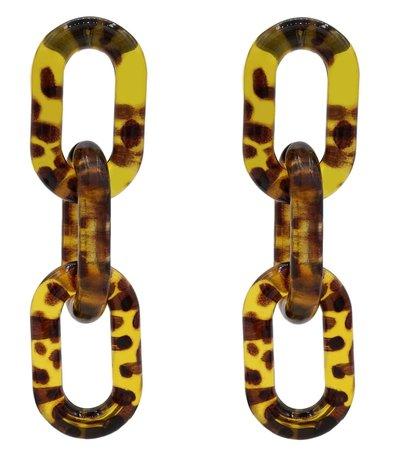 Leopard Dubbel Oorbellen met oorstekers - Goud & Zwart