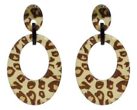 Leopard Oorbellen Hangers met oorstekers - Beige & Bruin