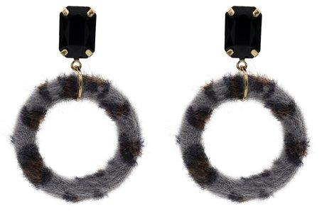 Leopard Oorbellen Hangers met Donker Vacht - Grijs & Zwart