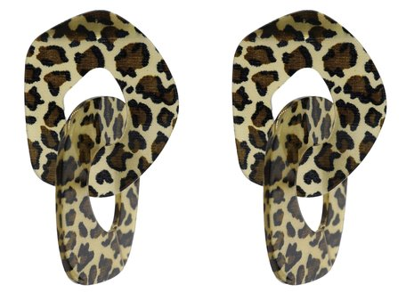 Leopard Dubbel Oorbellen Hangers met oorstekers - Beige & Bruin