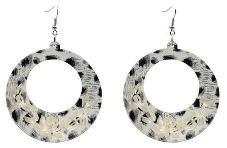 Leopard Oorbellen Hangers met oorstekers & versierd met witte bloemen
