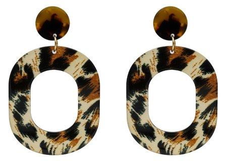 Leopard Oorbellen Hangers met oorstekers