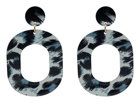 Leopard Oorbellen Hangers met oorstekers  - Blauw & Zwart