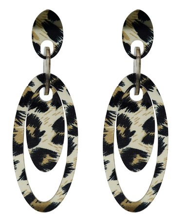 Leopard Hoop Oorbellen Hangers met oorstekers - Beige & Zwart