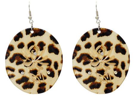 Leopard Hoop Oorbellen Hangers met oorstekers - Beige & Bruin