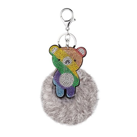 Sleutelhanger - Rainbow Beertje met Stras & Pluizenbol - Licht Grijs