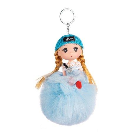 Sleutelhanger - Prinses met Pluizenbol & Muts - Blauw