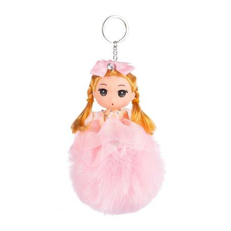 Sleutelhanger - Prinses met Strikje & Muts - 18 cm - Roze