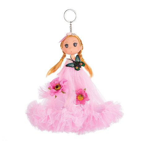 Sleutelhanger - Prinses met Strikje & Vlinder - 20 cm - Roze