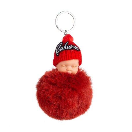 Baby Sleutel/Tas hanger met Muts - Rood 16 cm