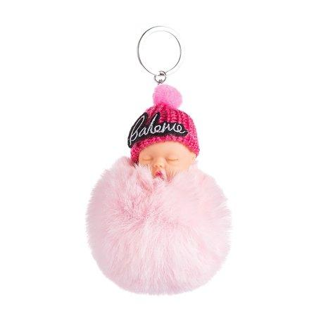 Baby Sleutel/Tas hanger met Muts - Roze - 16 cm