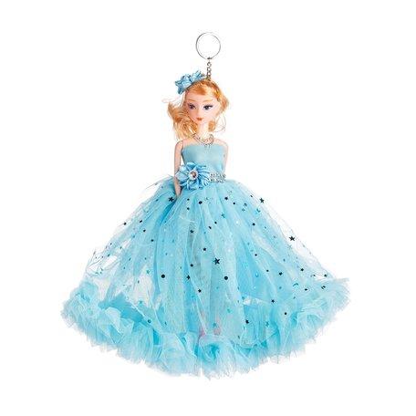 Sleutelhanger - Prinses met Ketting & Zirkonia Steentjes - 27 cm - Blauw