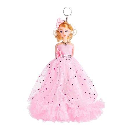 Sleutelhanger - Prinses met Ketting & Zirkonia Steentjes - 27 cm - Roze