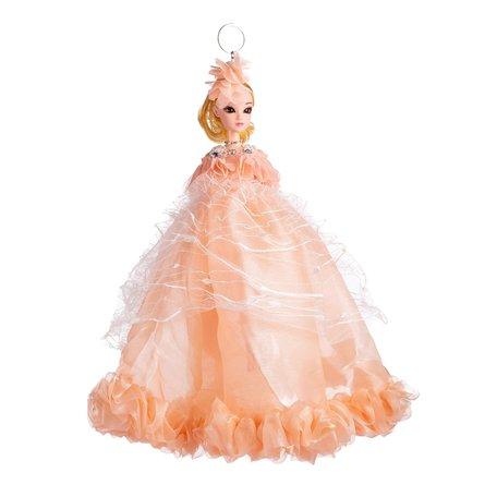 Sleutelhanger - Prinses met Bruidsjurk & Zirkonia Hals Ketting - 27 cm - Oranje
