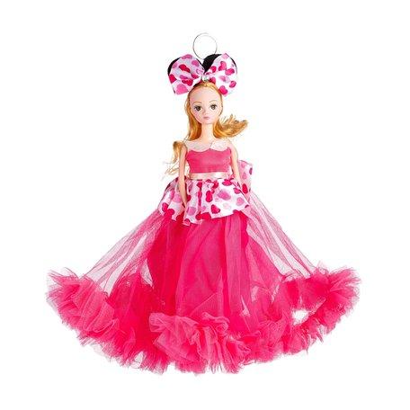 Sleutelhanger - Prinses met Bruidsjurk met een strik & Hartjes - 27 cm - Roze