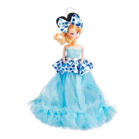 Sleutelhanger - Prinses met Bruidsjurk met een strik & Hartjes - 27 cm - Blauw
