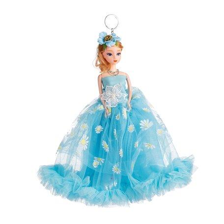 Sleutelhanger - Prinses met Bruidsjurk met een strik & Bloemetjes - 27 cm - Blauw