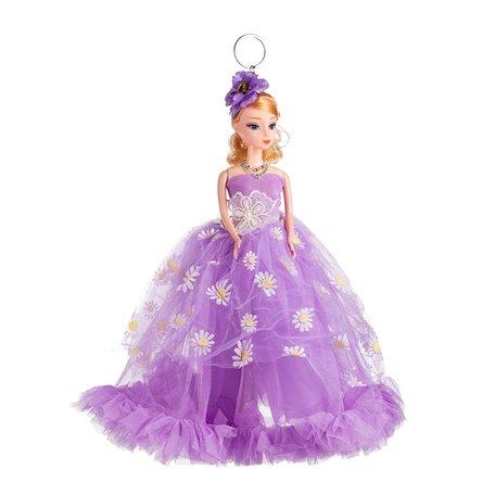 Sleutelhanger - Prinses met Bruidsjurk met een strik & Bloemetjes - 27 cm - Paars