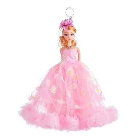 Sleutelhanger - Prinses met Bruidsjurk met een strik & Bloemetjes - 27 cm - Roze